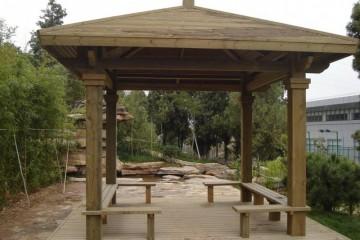 唐山防腐木是凉亭制造最为常见的原料之一